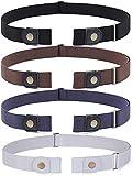 JasGood 4 Stück Schnallenfreier Verstellbarer Gürtel Ohne Schnalle für Damen oder Herren, Unsichtbarer Elastischer Gürtel für Jeans Hosen, für Hosengrößen 80cm-120cm