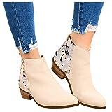 Damen Chelsea Boots Leder Stiefeletten Damen Ankle-Boots Flach Spitze Stiefel Kurzstiefel mit Reissverschluss, Frauen Wildleder Schuhe Bequem Damenschuhe Mode Elegant Halbstiefel