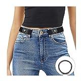 JasGood Schnallenfreier Damen Stretch Elastischer Gürtel für Damen Herren, Plus Size Keine Schnalle Unsichtbarer Gürtel für Jeans Hosen, Schwarz, Hosengröße 86cm-125cm