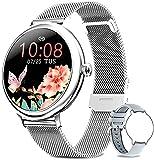 Bengux Smartwatch Damen,Fitness Tracker IP67 Wasserdicht Sportuhr Smart Watch mit Pulsuhr und Blutsauerstoff-Monitor für Damen, Silber