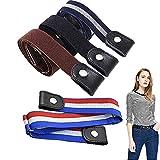 DFGF 4 Stück Stretch-Gürtel, Schnallenfreier Gürtel, Einstellbarer Elastischer Gürtel Für Frauen Und Männer, Unsichtbarer Elastischer Gürtel Für Jeans, Hosen, Röcke, Kleider (4 Farbe)