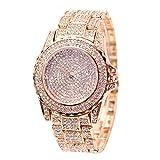 Dxlta Frauen Damen Strass Armbanduhren mit Stahlarmband Zifferblatt Uhr Elektronische Bewegung Casual Quarzuhr Rosegold/Gold/Silber