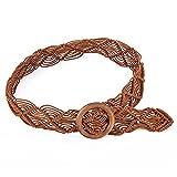 Ethnischer gewebter handgefertigter Gürtel, gewebter Seilgürtel mit runder Holzschnalle, geeignet für lässige Häkelkleider-Accessoires für Damen
