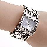 Damen Strass Uhr Luxus Mode Armband Analog Quarzuhr Platz Kristall Damenuhr Großes Gesicht Großes Zifferblatt Breitband Manschette Uhr,Silber